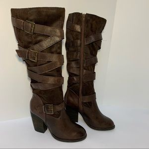 Steve Madden Redondo Distressed Leather Heel Boots